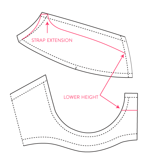 alteration for a demi bra with strap extension