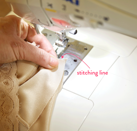 sewing in right cup